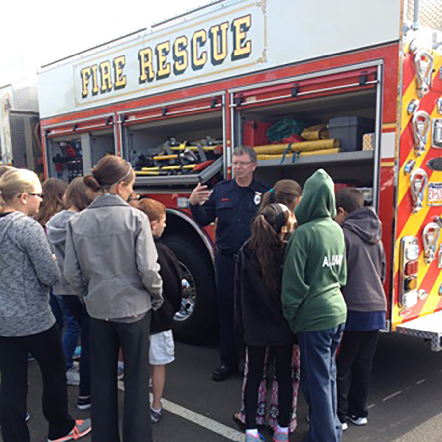 Newtown Emergency Services Department providing public education to students